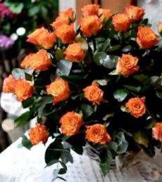 Kosz 35 Pomarańczowych Róż